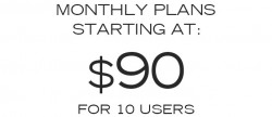 Monthly plans start at $90 for 10 users.