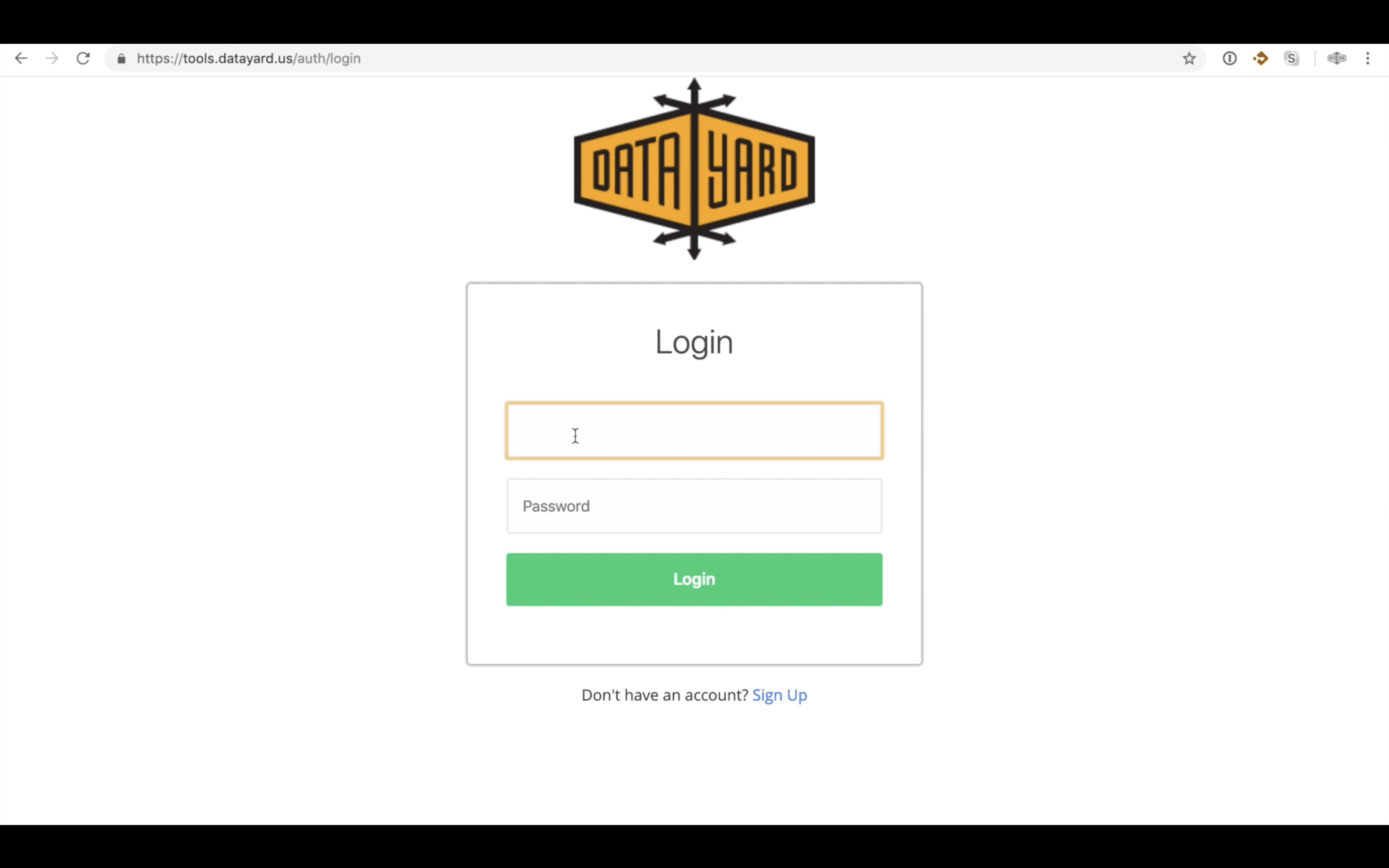 DataYard Alias Editor Login Screen